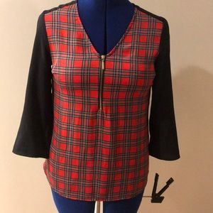 Express Zip Front Plaid Polyester Blouse